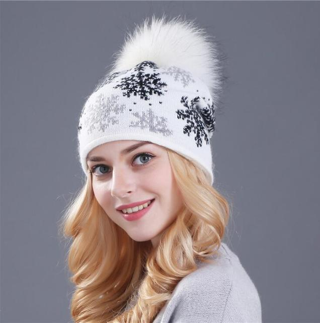 Women Winter hat New Women Autumn Winter Warm Rabbit Fur Knitted Beanies Thick Double Layer Cashmere Skullies Female Hat