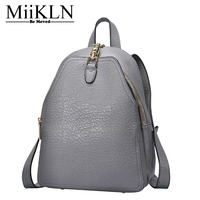 MiiKLN Genuine Leather Women Backpack Solid Fashion New Design Cow Leather Ladies Backpack Bags