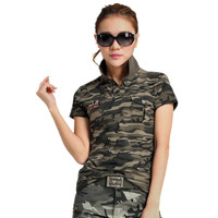 2017 Summer Ladies Camouflage T Shirts Stretch Cotton Camouflage Short Sleeve T Shirt Casual Camo Military