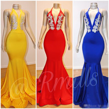 Royal Blue Mermaid Long Prom Dresses 2019 Deep V Neck Backless Lace Appliques Sweep Train Evening Dress Red Party Gowns