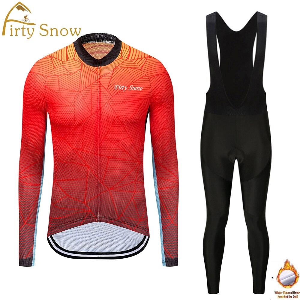 Firty Snow 2018 Winter Thermal Fleece Cycling Jersey Long Sleeve Jerseys Cycling Bib Pants Set Bike Bicycle Cycling Clothes
