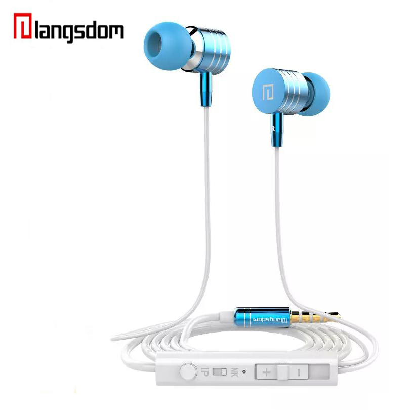 Langsdom Metal Stereo Earphones Super Bass In-ear Earphone With Microphone & Volume Control Headset for ipod MP3 Phone langsdom a10 super bass in ear earphone hifi music earplugs metal headset with mic general for phone iphone xiaomi sony pc mp3