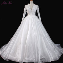 JULIA KUI V-Neck Wedding Dress Long Sleeve Chapel Train