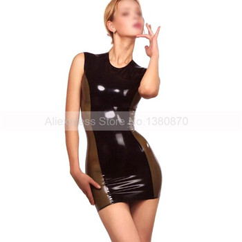 Black and Transparent Trims Rubber Latex Women Dresses with Back Zip to Waist  S-LD081