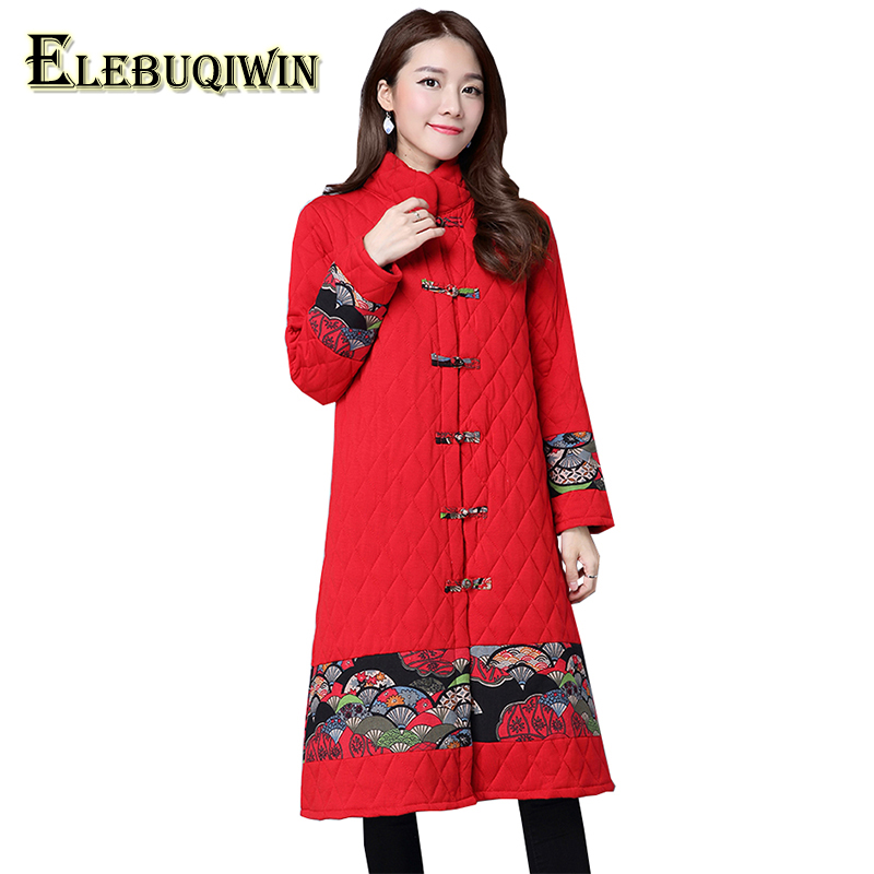 Autumn Winter Women's Cotton Coat Ethnic Wind Female Cotton Jacket Large Size Printing Long-Sleeved Casual Cotton Clothing LS272