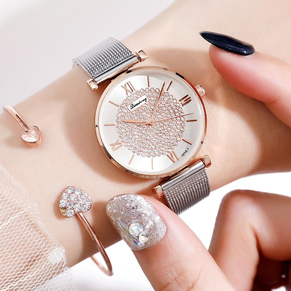 Women Watches Top Brand Luxury 2019 Fashion Diamond Ladies Wristwatches Stainless Steel Silver Mesh Strap Female Quartz Watch
