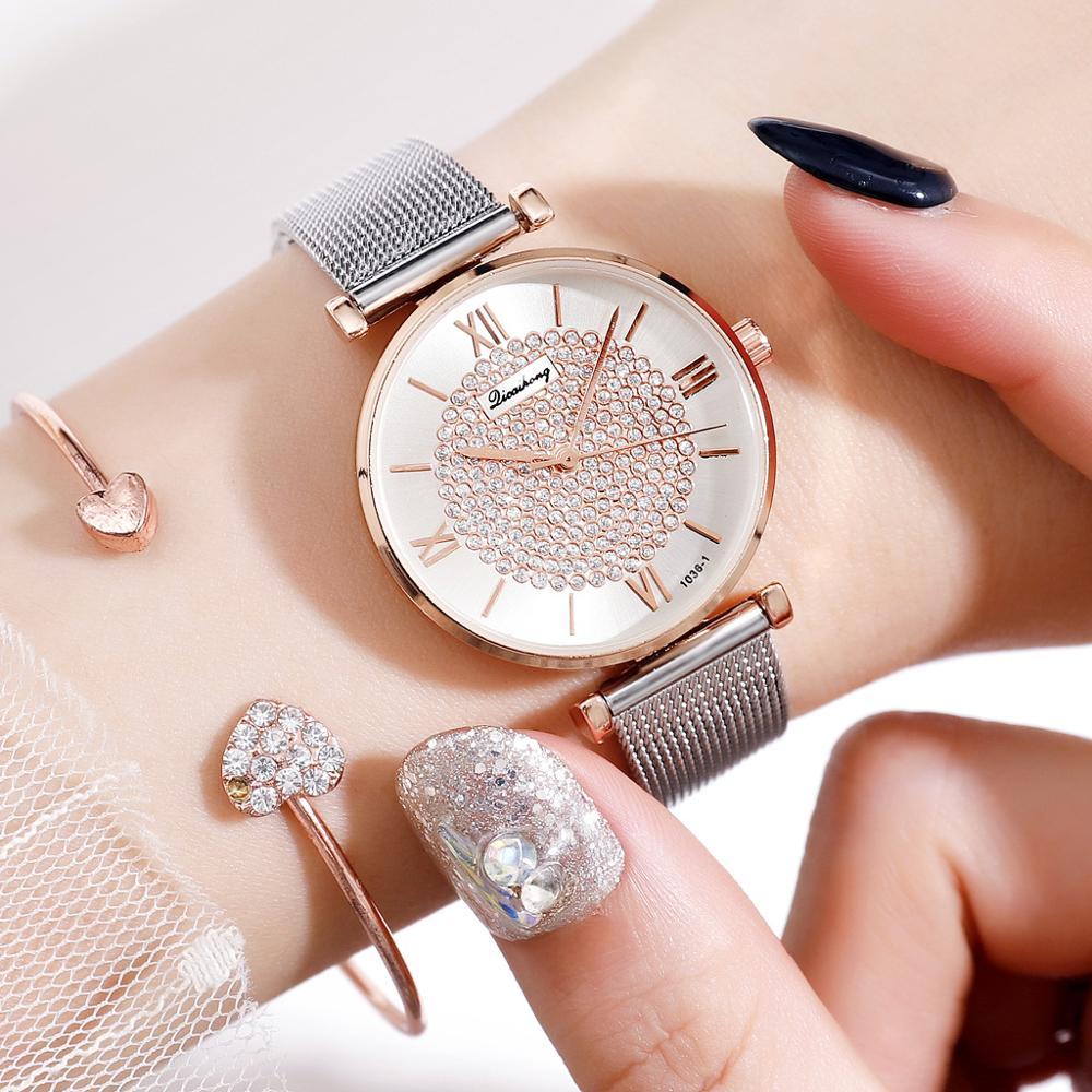 Women Watches Top Brand Luxury 2019 Fashion Diamond Ladies Wristwatches Stainless Steel Silver Mesh Strap Female Quartz Watch