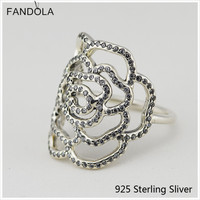 Original 925 Sterling Silver Large Rose Silver Ring With Cubic Zirconia Charms For Women Fashion Charms