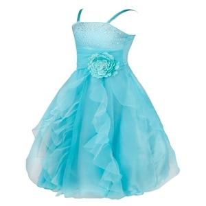 Image 4 - TiaoBug Kids Cô Gái Không Tay Prom Gown Flower Girl Dresses Công Chúa Đám Cưới Rước Bữa Tiệc Tốt Nghiệp Váy với Bowknot 2 14Y