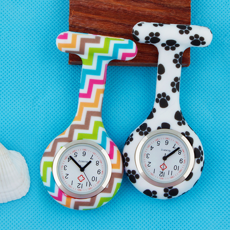 Fashion Colorful Silicone Medical Nurse Watches  Brooch Tunic Fob Pocket Stainless Dial Watches Accept OEM Service ALK VISON