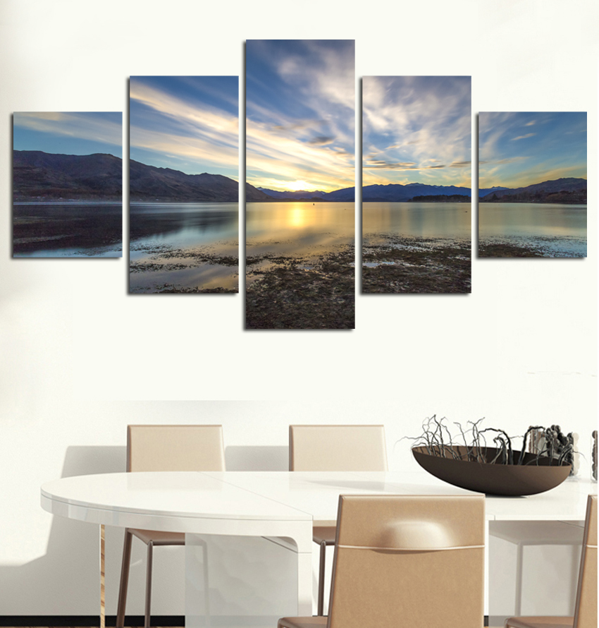 Modern Mountain And River Landscape Canvas Painting 5 Pieces Wall Art Spectacular Sunshine Picture For Living Room FA515 in Painting Calligraphy from Home Garden