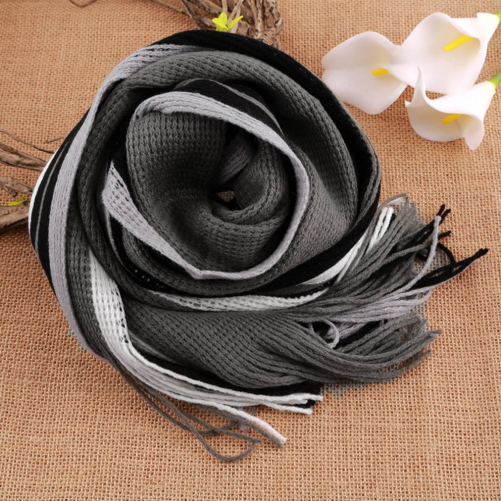 2016 New fashion designer Men Classic Cashmere Scarf Winter Warm Soft Fringe Striped Tassel Shawl Wrap striped scarf men scarves in Men 39 s Scarves from Apparel Accessories