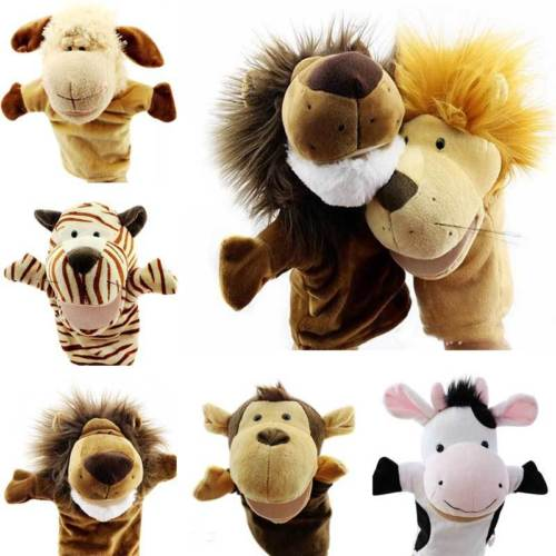 Baby Boys Girls Toys Cartoon Animals Wildlife Pattern Hand Glove Puppet Plush Puppets Kids Role Play Toys