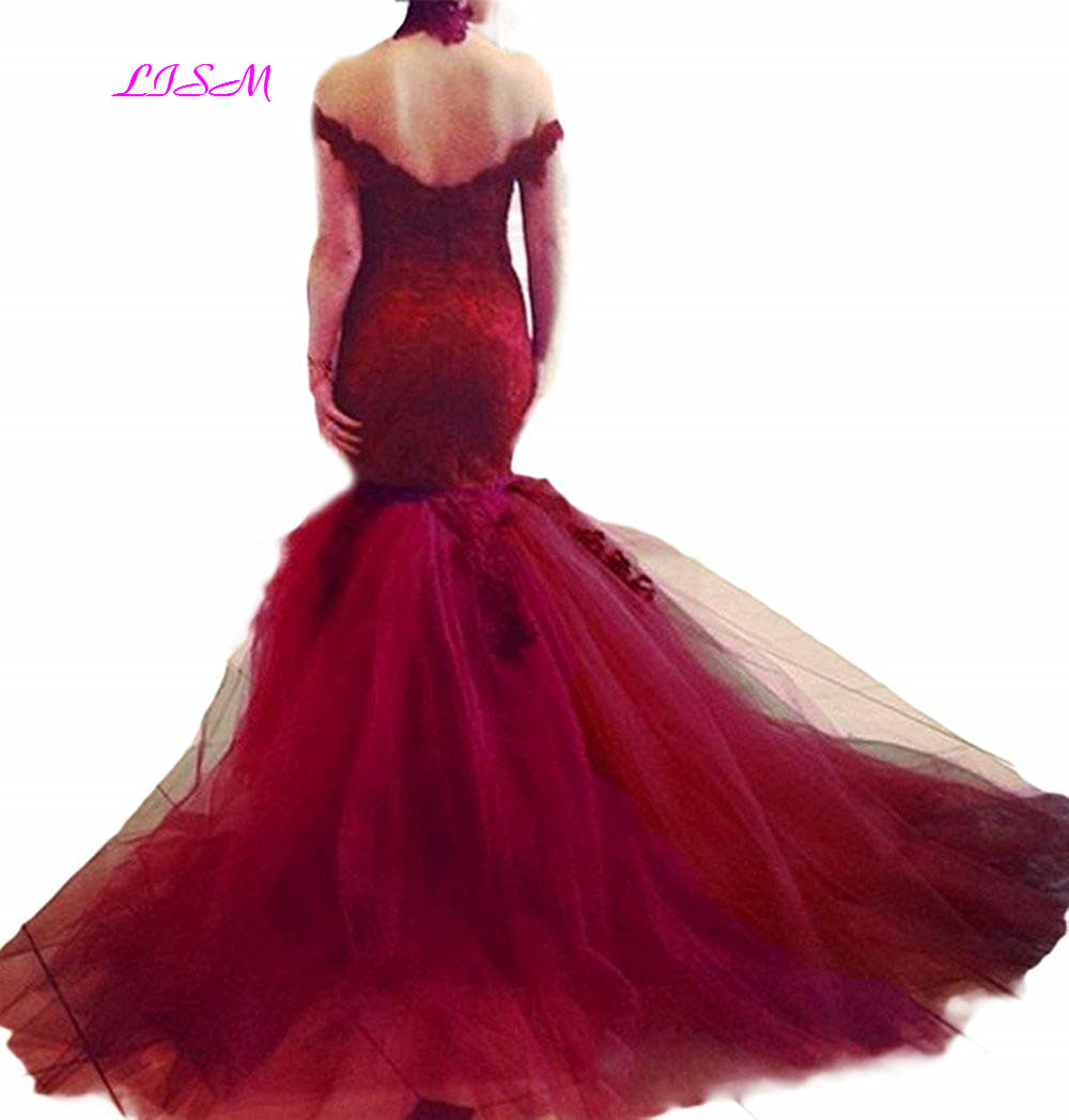 Vintage Off Shoulder Mermaid Evening Dress Lace Appliques Plus Size Evening Gowns Sexy Bodice African Prom Dresses for Women