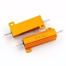 RX24 50W 20R 20RJ Metal Aluminum Case High Power Resistor Golden Metal Shell Case Heatsink Resistance Resistor 20 ohm 50w