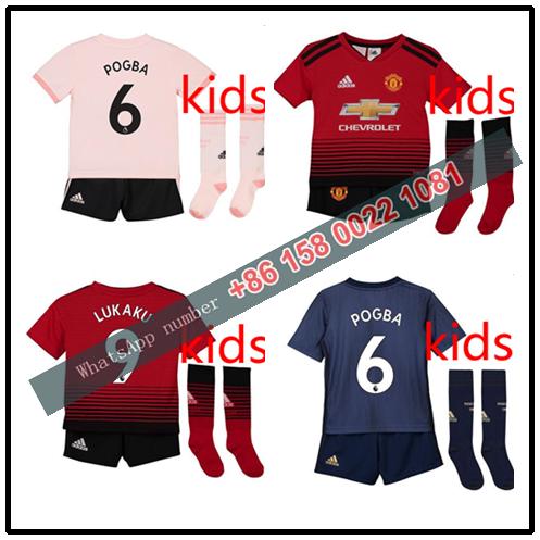 71d5a37c6 2019 Manchestered United kids kit +sock home away third 18 19 child POGBA  Football shirt soccer Jerseys Uniforms LITTLE boys