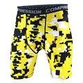 Os Mais Recentes de alta qualidade amarelo costura cor Quick Dry Homens Shorts de Compressão Calças Justas Estiramento Shorts Shorts dos homens Casual 2017