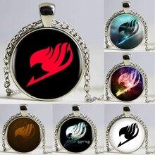 1pcs/lot 9 Styles Fairy Tail Logo Pendant Necklace for Woman/Men Cabochon Vintage Black Chain DOTA Statement Necklace HZ1