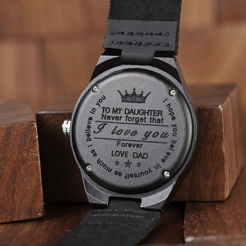 Personalized Gifts Wood Watch Christmas Party Gift For Daughter Birthday Private Custom Messages Wooden Watches Dropshiping