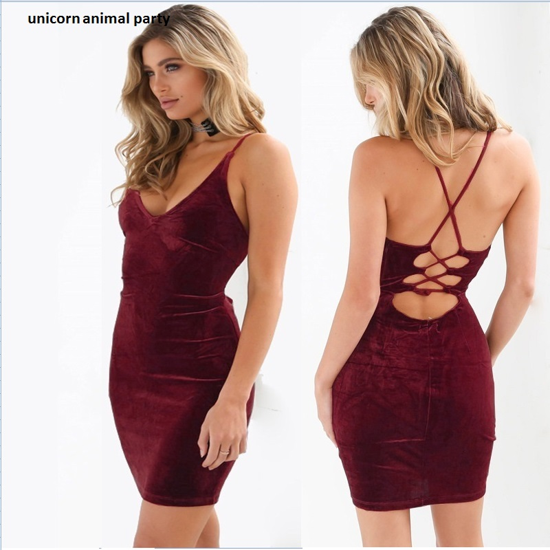 Spring And Summer Fashion Women's Black And Pink, Red And Blue Sexy Off-the-shoulder Straps With V-neck Strap Mini Dresses