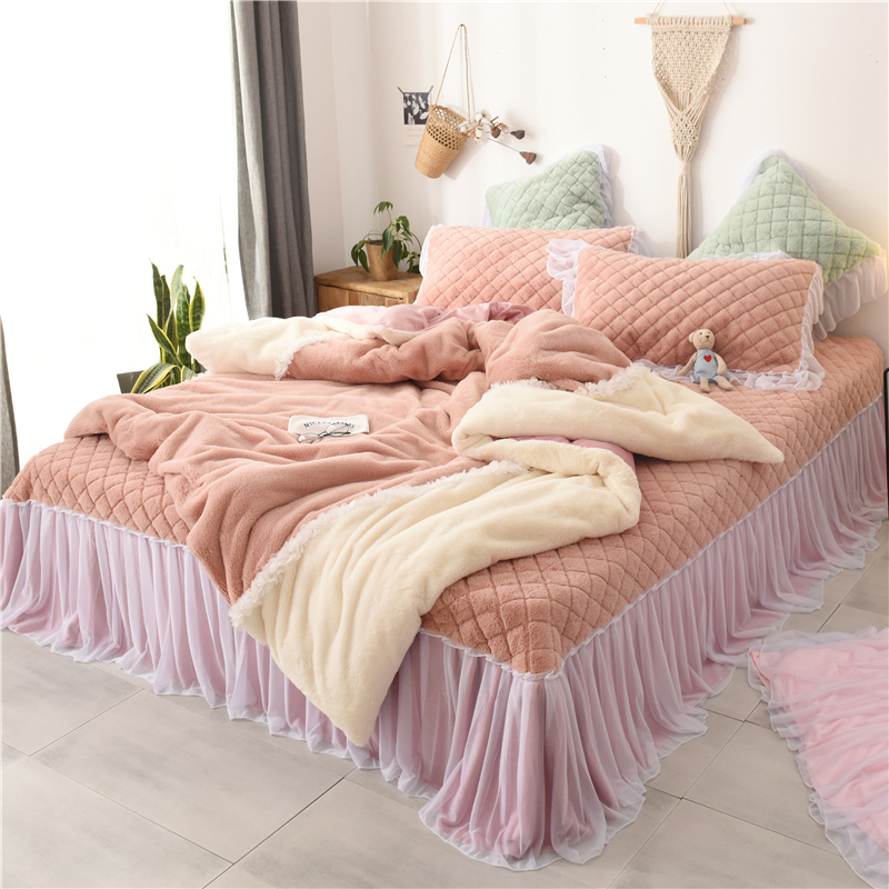 Pink Gray Winter Thick Flannel Princess Girl Bedding set Soft Fleece Fabric Lace Duvet Cover Bed sheet Bedspread PillowcasesPink Gray Winter Thick Flannel Princess Girl Bedding set Soft Fleece Fabric Lace Duvet Cover Bed sheet Bedspread Pillowcases