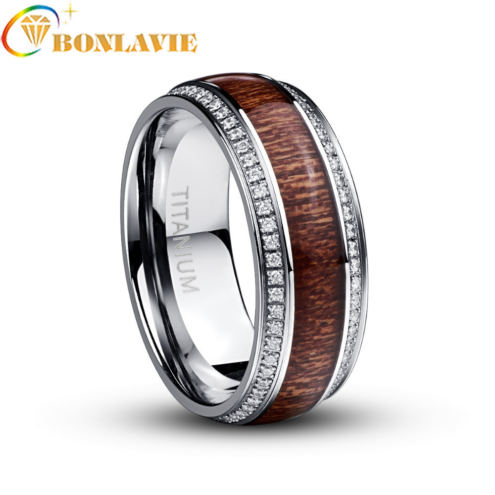 Brand New Steel Stainless Steel Ring For Men Micro Pave White CZ Acacia Wood Titanium Steel Mens Wedding Rings Jewelry