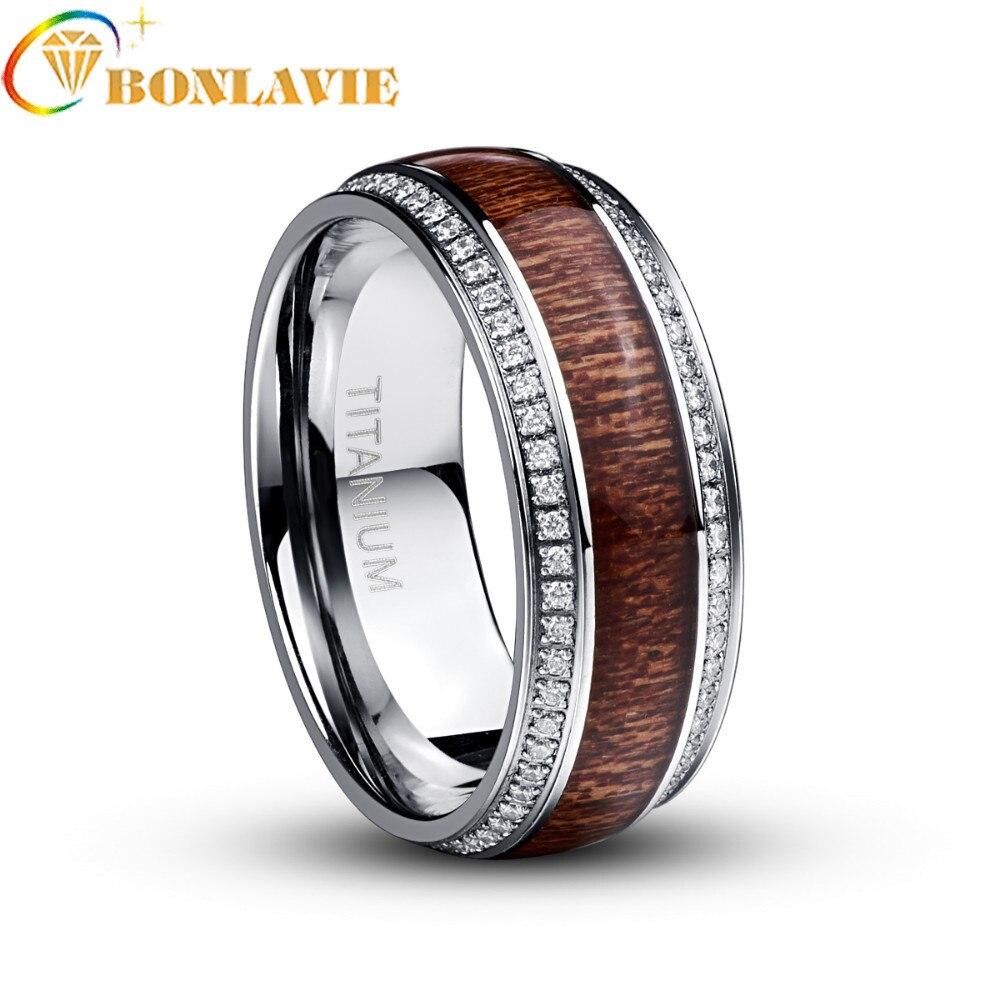 Flambant neuf en acier inoxydable anneau pour hommes Micro pavé blanc CZ Acacia bois titane acier hommes anneaux de mariage bijoux