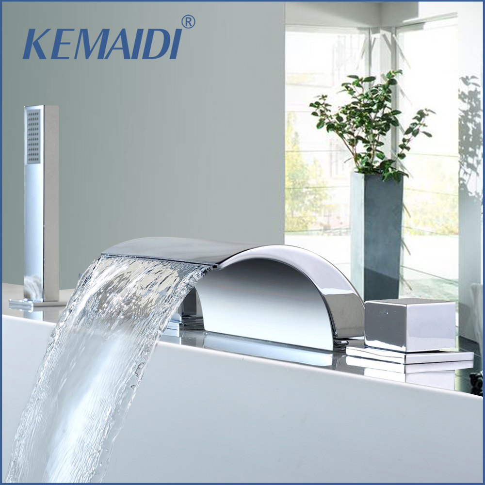 KEMAIDI Deck Mount 5PCS Waterfall Shower Set Bathtub Tub Shower Faucet Three Handles with Handheld Tub Mixer Taps Chrome Finish 5pcs chrome finish waterfall led bathtub faucet mixer tap w handheld shower