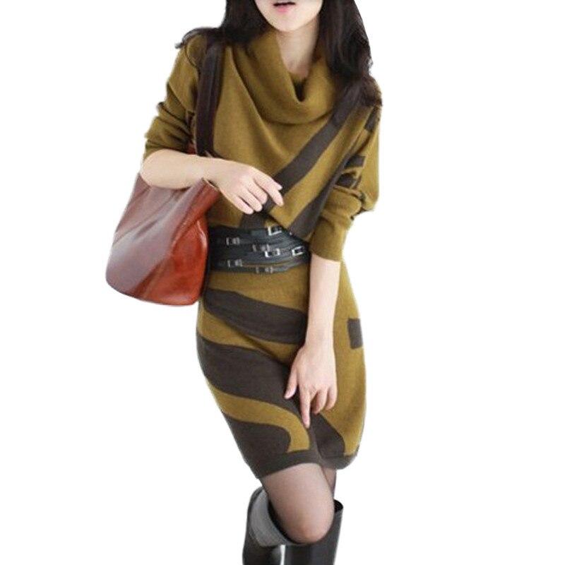 2018 Winter Long Sweater Womens Vestidos Sweater Dress Woolen Batwing Sleeve Slim Hip Dress Turtleneck Sweater with Belt AA402
