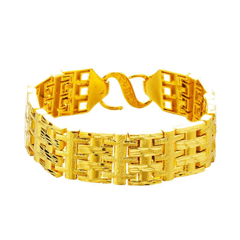 OMHXFC gros bijoux de mode européenne homme mâle fête d'anniversaire mariage père cadeau large montre chaîne 24KT or bracelet BE311