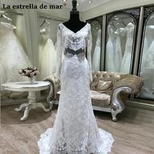 Vestido de novia 2018 New Lace Long Sleeve See 2 Ivory Sexy Mermaid Wedding Dresses High Quality trouwjurk Hot bruidsjurken