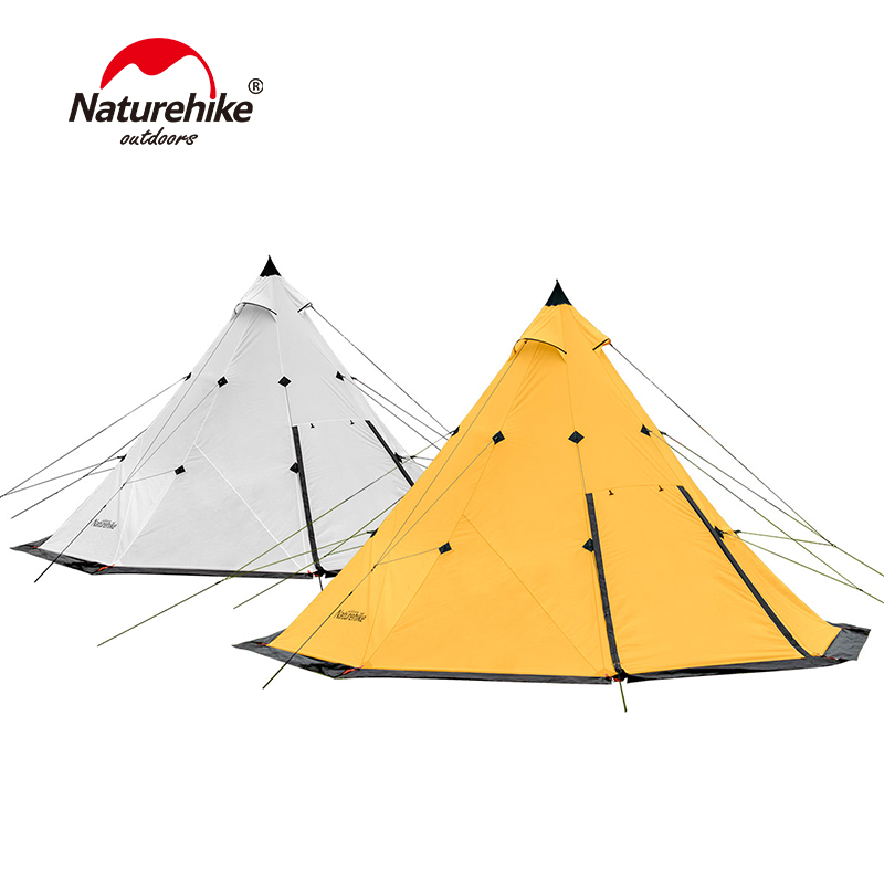 Naturehike Large Family Tent Pyramid Waterproof Outdoor Camping Hiking Tent For 3-8 Persons naturehike 3 4 5 8 persons large family tent pyramid waterproof outdoor camping hiking triangle tent simple indian tent