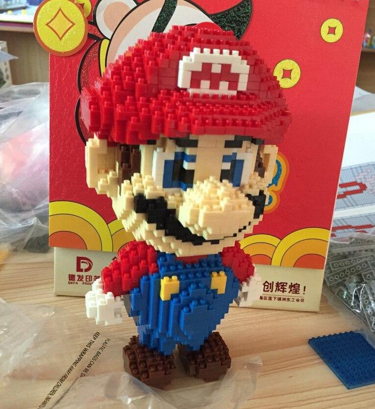 HC 9003 Super Mario Diamond Particles Doll  Bricks Diamond Building Blocks Toys Compatible with  Mario big size super mario bros blocks diamond luigi mario building blocks action figure toys 3d model bricks toy