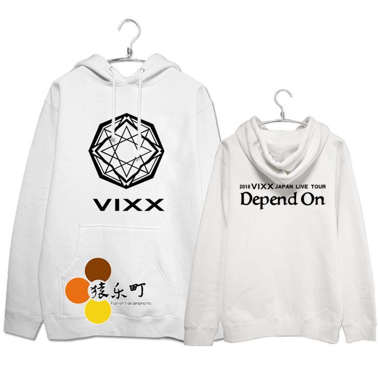 Plus size men women loose pullover hoodies kpop vixx 2016 japan live tour depend on printing sweatshirt fleece sudaderas