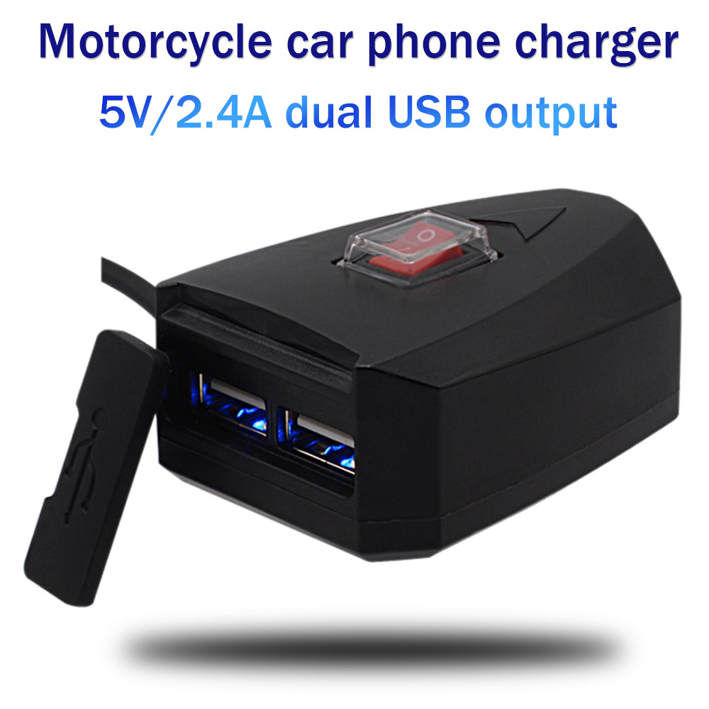10V-80V Motorcycle 2.4A Dual USB Waterproof Power Charger Scooter Handlebar Cigarette Lighter Adapter Moto Accessories