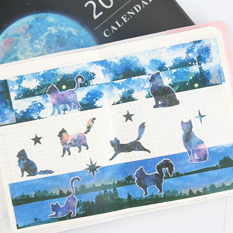 6pcs/lot Cute Sky Cats Cartoon Animals Decoration Sticker Pvc Cartoon Stickers Diary Sticker Scrapbook Stationery Stickers