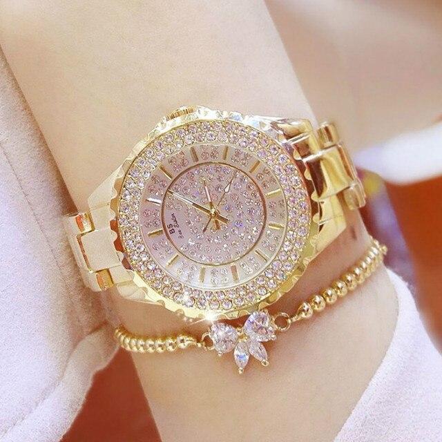 d00e8e06c603 Hermana de la abeja marca mujeres relojes de lujo señoras reloj de acero  inoxidable mujer pulsera