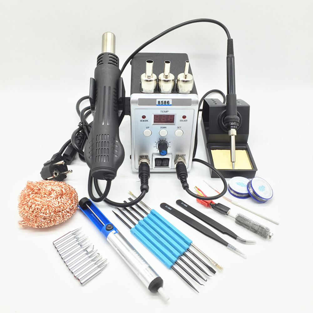 220V/110V 700W Soldering Station 8586 2 In 1 SMD Rework Station Hot Air Gun + Electric Solder Iron For Welding Repair Tools Kit