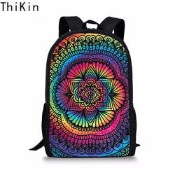 THIKIN Mandala Batik szkoły torba dla nastolatków dziewczyny szkolne dla dzieci Plecak studenci tornister Plecak Szkolny Mochila Escolar 1