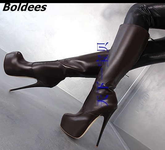 Concise Style Black Leather Stiletto Heels Mid-calf Boots Women Trendy Platform Super High Heel Boots Classic Back Zip ShoesConcise Style Black Leather Stiletto Heels Mid-calf Boots Women Trendy Platform Super High Heel Boots Classic Back Zip Shoes