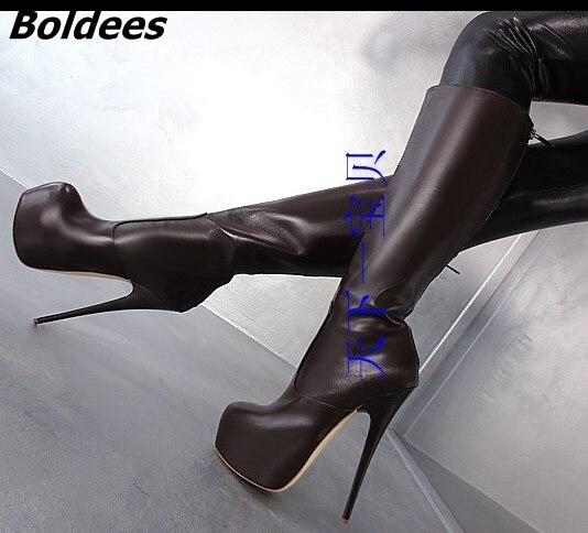 Concise Style Black PU Leather Stiletto Heels Mid-calf Boots Women Trendy Platform Super High Heel Boots Classic Back Zip Shoes fancy women brown suede flowing fringe stiletto heels mid calf boots round toe platform tassel side zip long boots new design