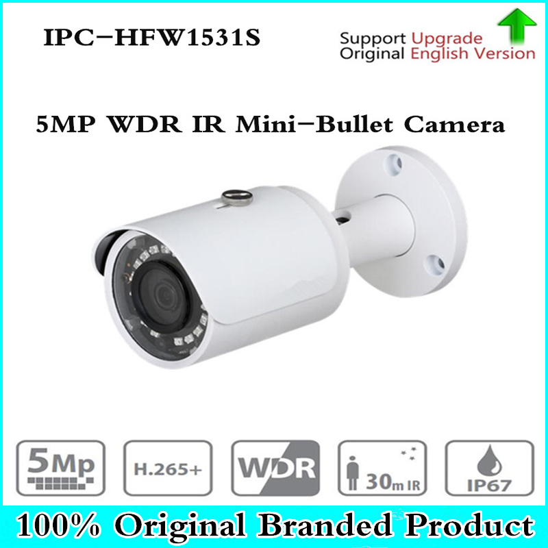 DH Original English version Security CCTV IP Camera 5MP WDR IR Mini-Bullet Camera With POE IP67 No Logo IPC-HFW1531S free shipping dahua cctv camera 4k 8mp wdr ir mini bullet network camera ip67 with poe without logo ipc hfw4831e se