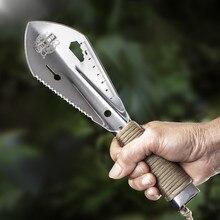 Садовая лопата из нержавеющей стали, лопата, многофункциональный инструмент, сорняк с пилой, шестигранный ключ, линейка, копка, лопатка, нож, копье, садовый бонсай