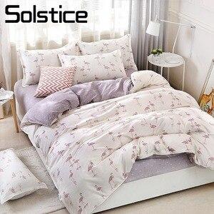 Solstice Home Textile Duvet Cover Flat Bed Sheet Pillow Case King Queen Twin Flamingo Light Purple Bedding Linens Set Bedclothes(China)