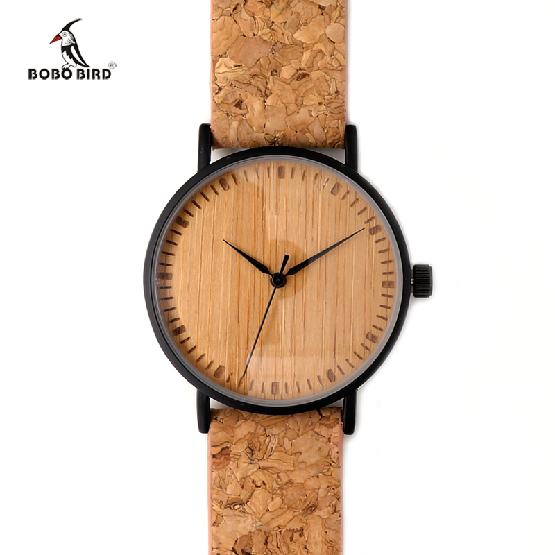 New Luxury  Wooden Dial Men Watches Cork leather Strap with Wood Gifts Box Unique Wood Watch for Fashion Gift BOBO BIRD Brand bobo bird luxury designer watches men style wooden watch wood strap wristwatch with paper gift box relogio masculino brand top