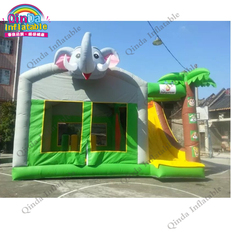 Hot sale cheap commercial giant kids jumping bouncer house combo jumpoline inflatable bouncy castle with slide commercial tropical inflatable jumping bounce house inflatable kids combo bouncy house for sale
