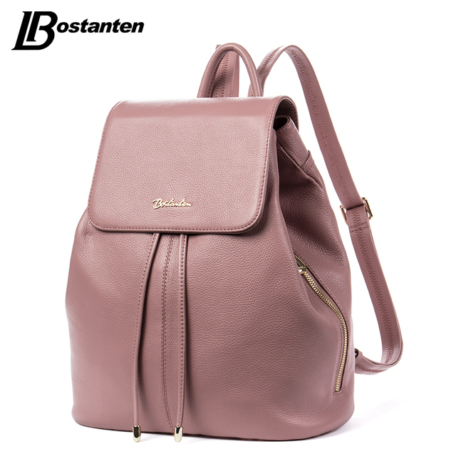 BOSTANTEN Fashion Designer Cow Genuine Leather Women Backpack Drawstring School Bags For Teenagers Girls Female Travel Back Pack