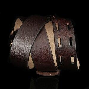 Image 5 - אופנה בריטי סגנון כפול סיכת אבזם חגורת עור אמיתי באיכות גבוהה עבור גברים מקרית ג ינס מותנים רצועת משלוח חינם