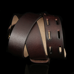 Image 5 - Fashion British Style Double Pin Buckle High Quality Genuine Leather Belt For Men Casual Jeans Waistbands Strap Free Shipping