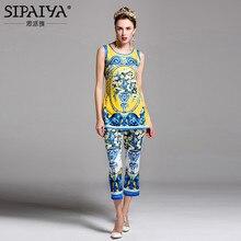 SIPAIYA New Arrivals 2017 Womens Runway Designer Fashion Vintage Pant Floral Print Summer Blouse Tops Womens